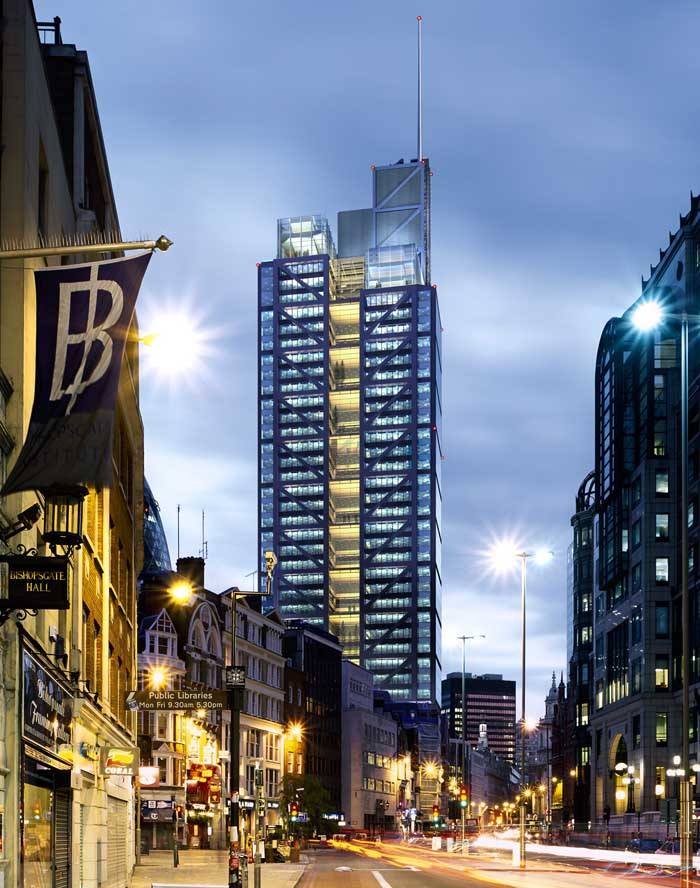 Night view from Bishopsgate looking South